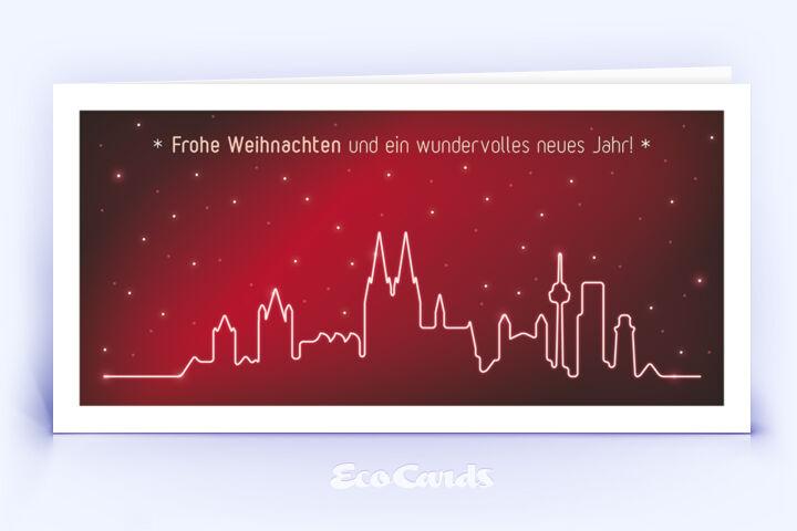 Öko Weihnachtskarte Nr. 1432 rot mit einem Köln Panorama zeigt ein klassisches Motiv.