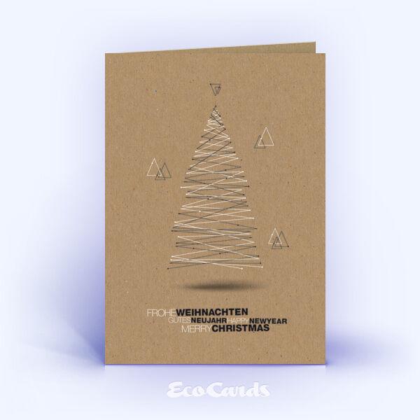 Öko Weihnachtskarten Nr. 1433 braun mit einem Weihnachtsbaum sind mit einem exklusiven Kartenmotiv versehen.