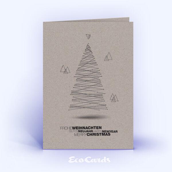 Öko Weihnachtskarten Nr. 1435 grau mit Christbaum zeigen ein schlichtes Motiv.