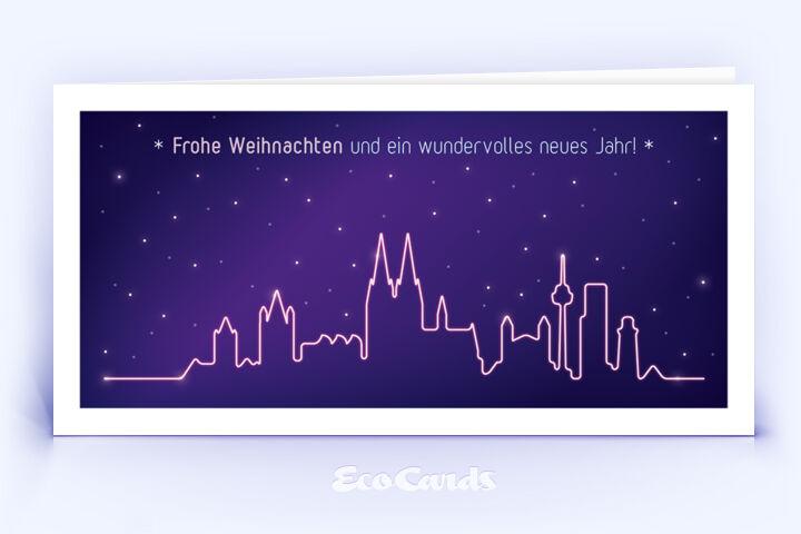 Öko Weihnachtskarte Nr. 1436 lila mit einer Köln Skyline ist mit einem individuellen Motiv versehen.