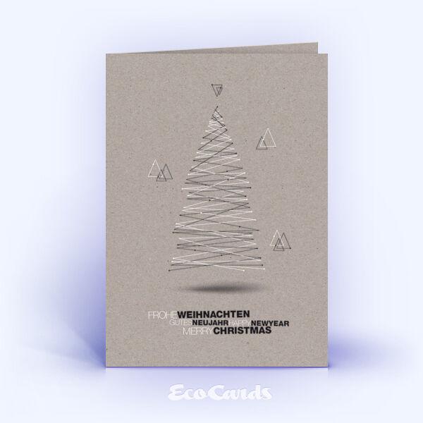 Öko Weihnachtskarten Nr. 1437 grau mit Weihnachtsbaum zeigen ein individuelles Weihnachtsmotiv.