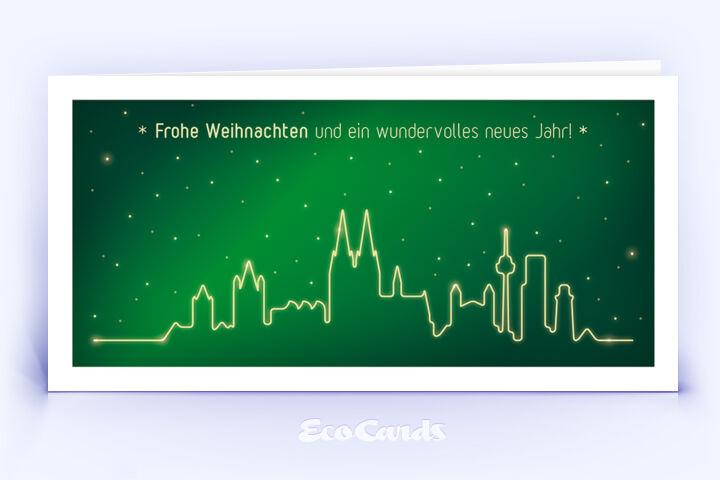 Öko Weihnachtskarte Nr. 1438 dunkelgruen mit der kölner Skyline ist mit einem exklusiven Kartendesign versehen.