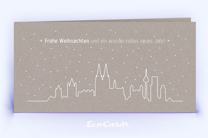Öko Weihnachtskarte Nr. 1440 grau mit kölner Silhouette ist mit einem besonderen Kartendesign versehen.