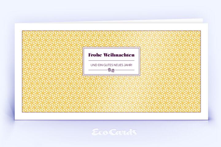 Öko Weihnachtskarte Nr. 1446 gold mit einem Sternen-Muster ist mit einem exklusiven Motiv versehen.