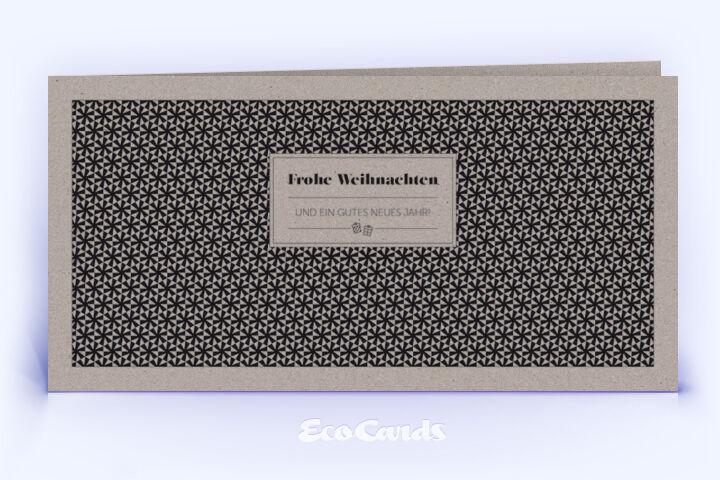Öko Weihnachtskarte Nr. 1454 grau mit Muster aus Sternen zeigt ein modernes Design.