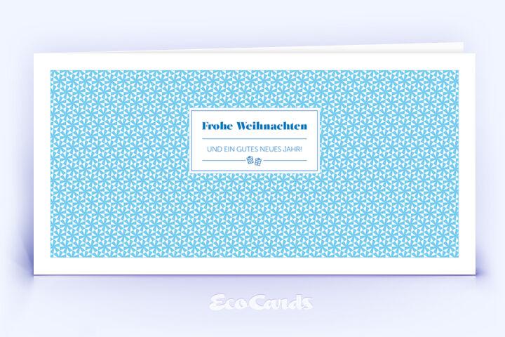 Öko Weihnachtskarte Nr. 1460 blau mit Muster aus kleinen Sternen zeigt ein modernes Design.