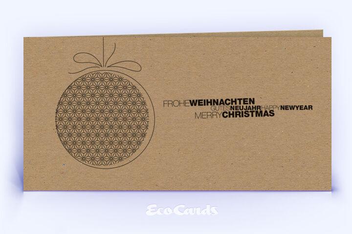 Öko Weihnachtskarte Nr. 1492 braun mit Christbaumschmuck ist mit einem besonderen Motiv versehen.