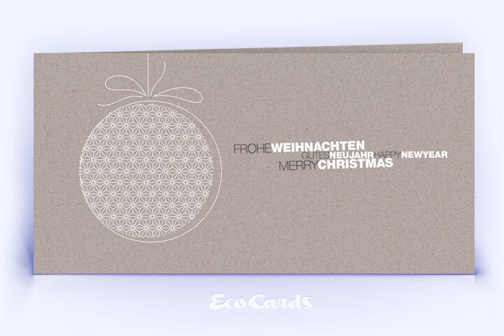 Öko Weihnachtskarte Nr. 1498 grau mit Christbaumschmuck ist mit einem schönen Design versehen.
