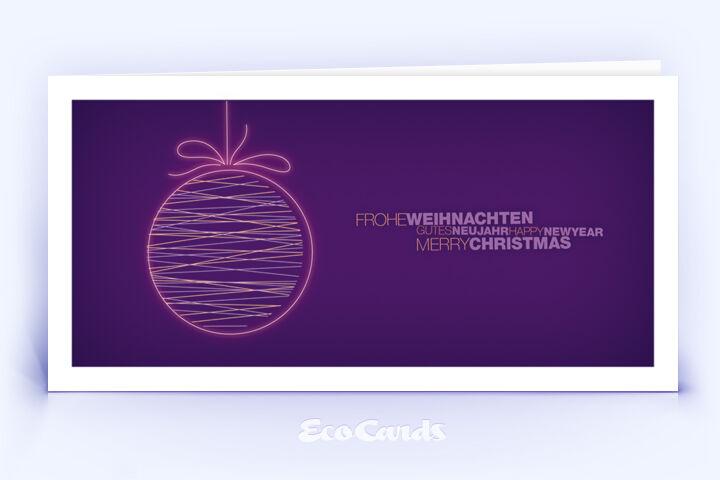 Öko Weihnachtskarte Nr. 1500 lila mit Christbaumkugel ist mit einem individuellen Kartendesign versehen.