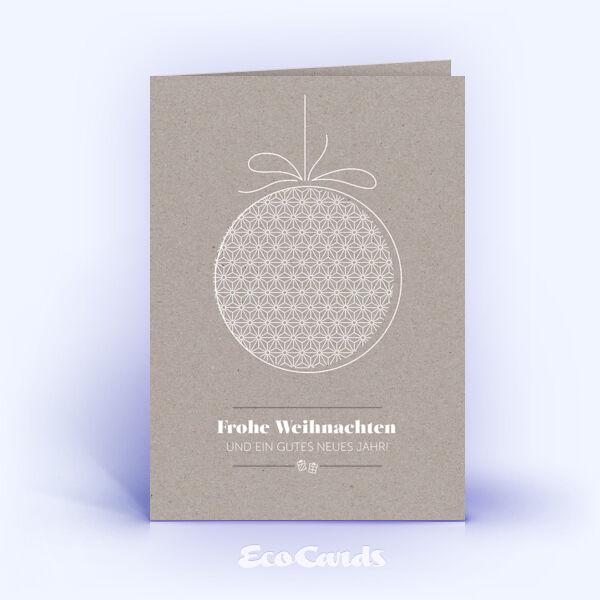 Öko Weihnachtskarten Nr. 1501 grau mit Weihnachtskugel sind mit einem besonderen Kartenmotiv versehen.