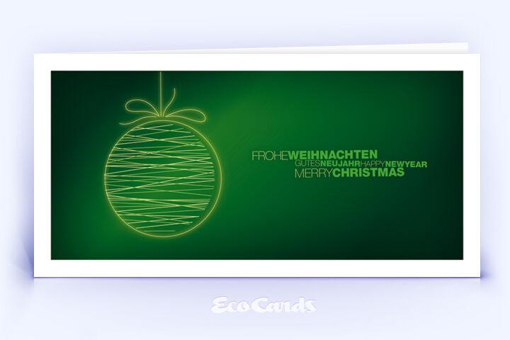 Öko Weihnachtskarte Nr. 1502 dunkelgruen mit Weihnachtskugel ist mit einem ausgefallenen Design versehen.