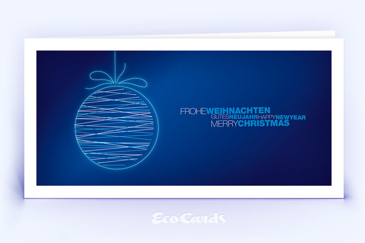 Öko Weihnachtskarte Nr. 1504 dunkelblau mit Christbaumschmuck ist mit einem exklusiven Design versehen.