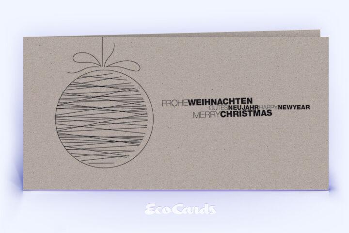 Öko Weihnachtskarte Nr. 1506 grau mit einer Weihnachtskugel zeigt ein schlichtes Weihnachtsdesign.