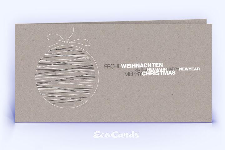 Öko Weihnachtskarte Nr. 1508 grau mit Christbaumkugel zeigt ein originelles Weihnachtsmotiv.