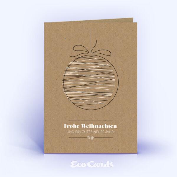 Öko Weihnachtskarten Nr. 1509 braun mit Weihnachtskugel sind mit einem edlen Kartendesign versehen.