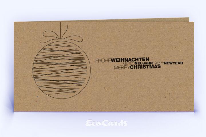 Öko Weihnachtskarte Nr. 1510 braun mit Christbaumkugel ist mit einem besonderen Kartenmotiv versehen.