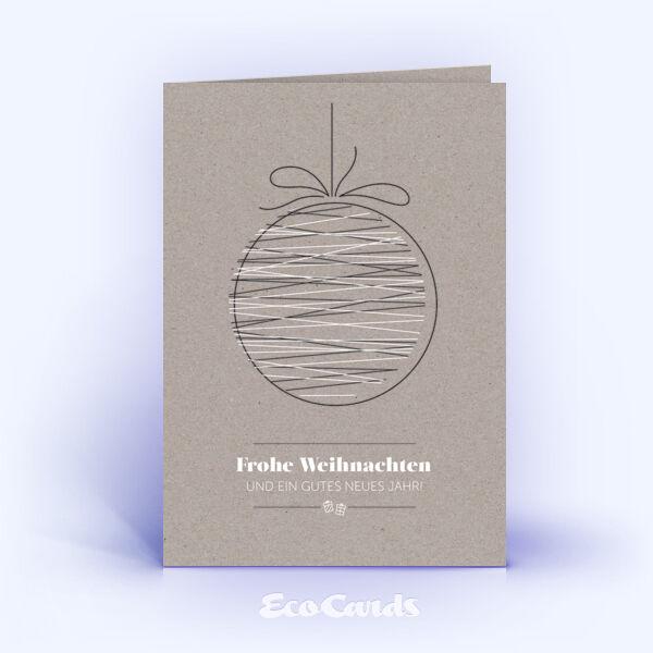 Öko Weihnachtskarten Nr. 1511 grau mit einer Christbaumkugel zeigen ein exklusives Design.