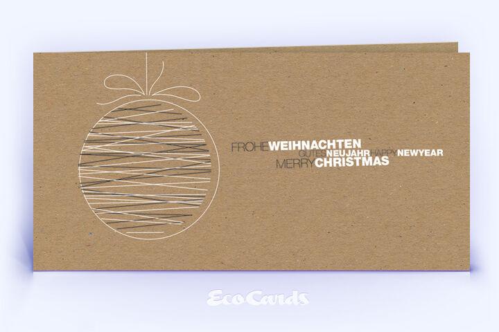 Öko Weihnachtskarte Nr. 1512 braun mit Christbaumschmuck zeigt eine grafische Gestaltung.