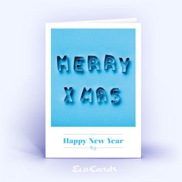 Öko Weihnachtskarten Nr. 1515 hellblau mit Keksformen, die zu einem Weihnachtsgruß zusammengelegt sind, sind mit einem schlichten Kartenmotiv versehen.