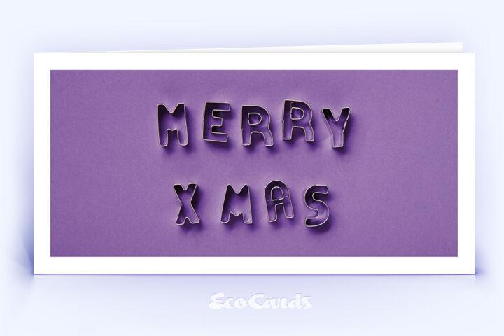 Öko Weihnachtskarte Nr. 1516 violett mit Keksformen, die zu einem Weihnachtsgruß zusammengelegt sind, ist mit einem schönen Kartenmotiv versehen.