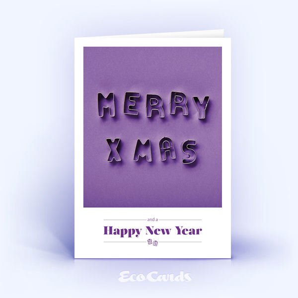 Öko Weihnachtskarten Nr. 1519 violett mit Keksformen, die zu einem Weihnachtsgruß zusammengelegt sind, zeigen ein ausgefallenes Design.