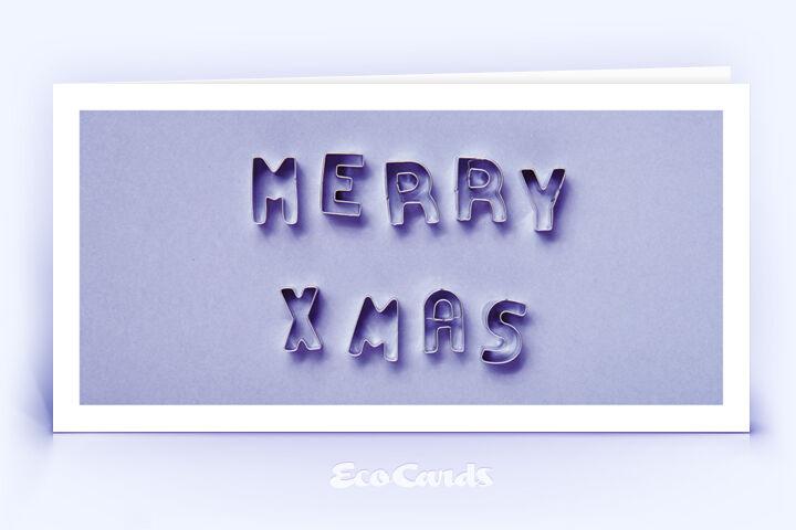 Öko Weihnachtskarte Nr. 1520 violett mit Ausstechformen für Plätzchen, die zu einem Weihnachtsgruß zusammengelegt sind, zeigt ein kreatives Karten-Design.