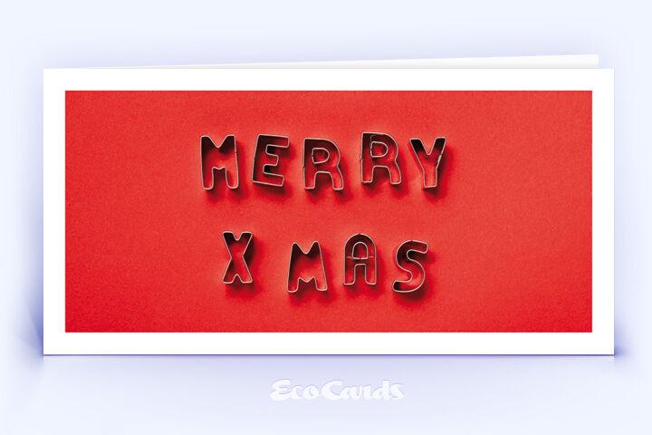 Öko Weihnachtskarte Nr. 1522 rot mit Ausstechformen für Plätzchen, die zu einem Weihnachtsgruß zusammengelegt sind, ist mit einem exklusiven Motiv versehen.