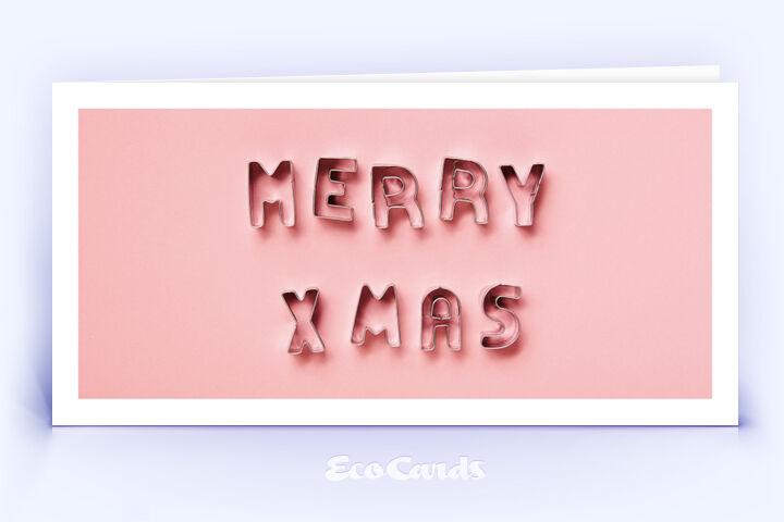 Öko Weihnachtskarte Nr. 1524 rosa mit Ausstechformen für Plätzchen, die zu einem Weihnachtsgruß zusammengelegt sind, zeigt ein besonderes Motiv.