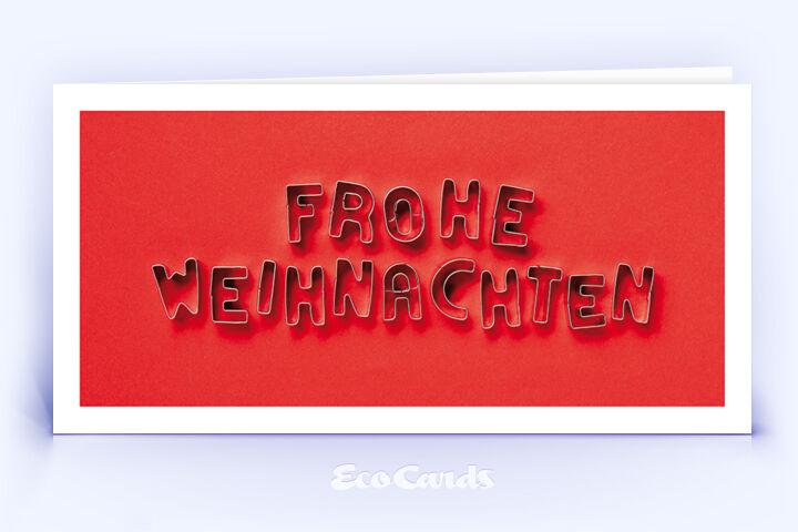 Öko Weihnachtskarte Nr. 1554 rot mit Ausstechformen, die zu einem Weihnachtsgruß zusammengelegt sind, zeigt ein ausgefallenes Weihnachtsmotiv.