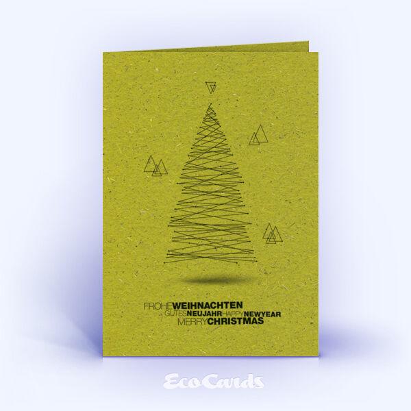Weihnachtskarte Nr. 1569 gruen mit einem Weihnachtsbaum