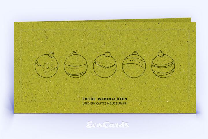 Weihnachtskarte Nr. 1586 gruen mit Weihnachtskugeln