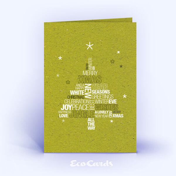 Weihnachtskarte Nr. 1587 gruen mit einer Wortwolke