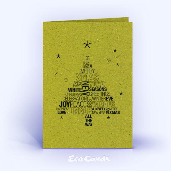 Weihnachtskarte Nr. 1589 gruen mit Word-Cloud