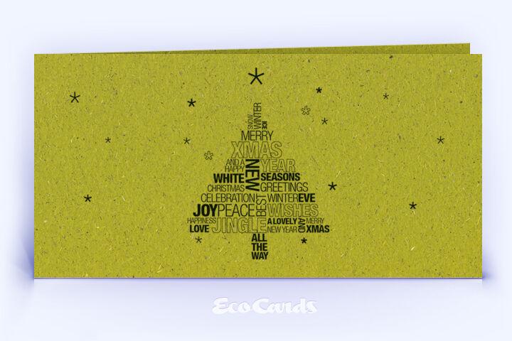Weihnachtskarte Nr. 1590 gruen mit Wort-Wolke