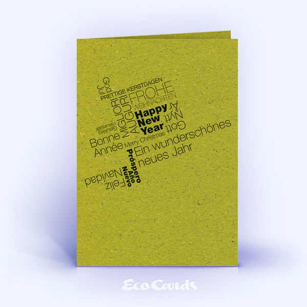 Weihnachtskarte Nr. 1603 gruen mit einer Wortwolke