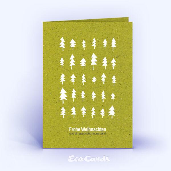 Weihnachtskarte Nr. 1607 gruen mit verschiedenen Weihnachtsbäumen