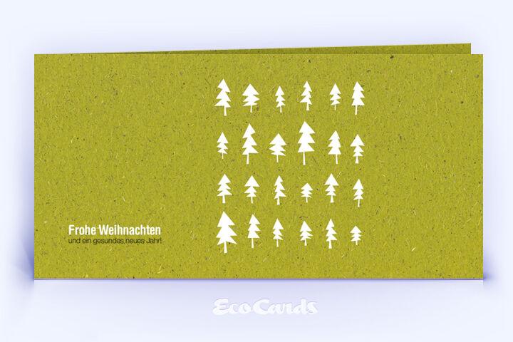 Weihnachtskarte Nr. 1616 gruen mit verschiedenen Weihnachtsbäumen