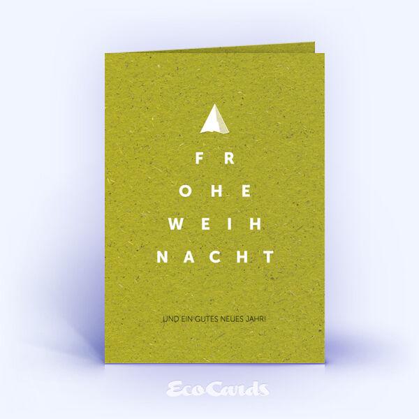 Weihnachtskarte Nr. 1619 gruen mit einem typografisch gestalteten Weihnachtsmotiv