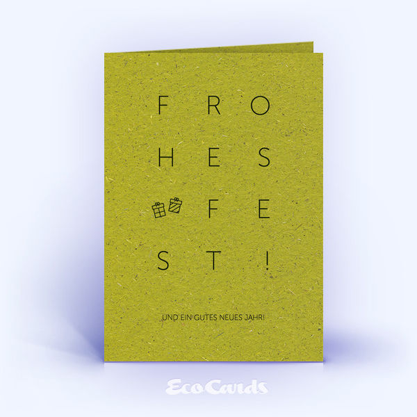 Weihnachtskarte Nr. 1625 gruen mit einem typografisch gestalteten Design