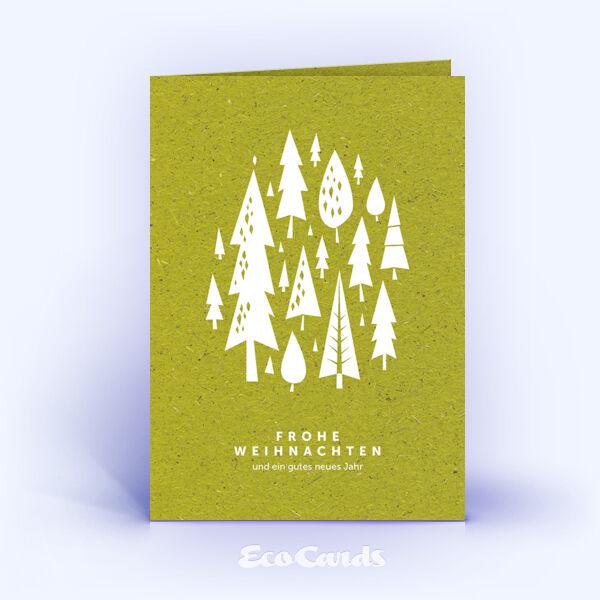 Weihnachtskarte Nr. 1637 gruen mit Weihnachtsbäumen