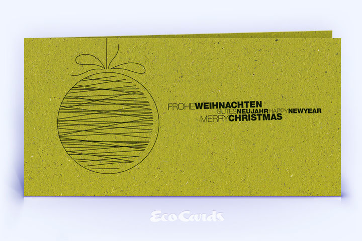 Weihnachtskarte Nr. 1642 gruen mit einer Weihnachtskugel