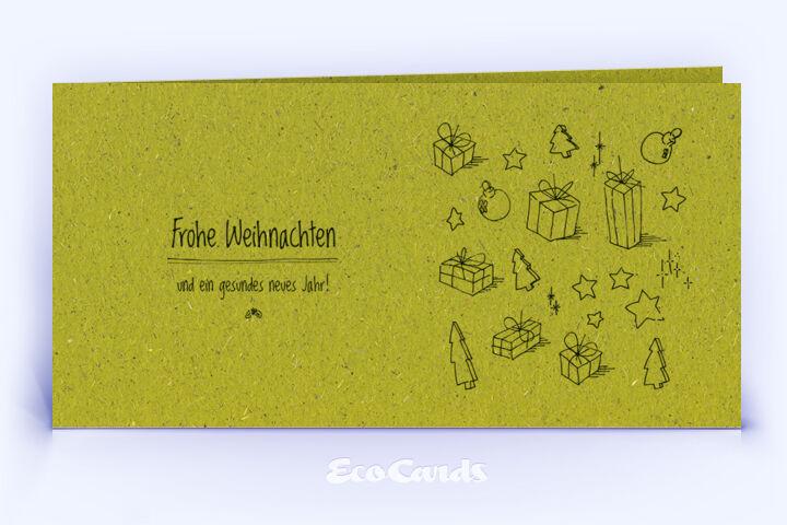 Weihnachtskarte Nr. 1644 gruen mit handgezeichneter Illustration