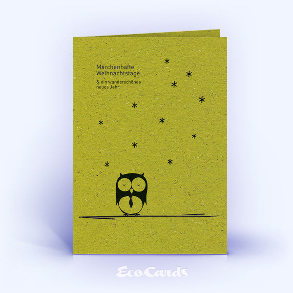 Weihnachtskarte Nr. 1645 gruen mit einer Eule im Design