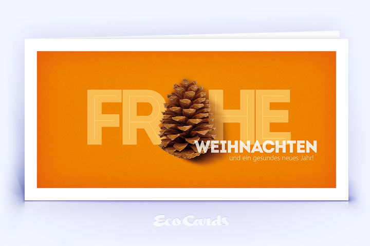 Weihnachtskarte Nr. 1654 orange mit Tannenzapfen