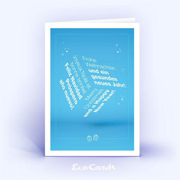 Weihnachtskarte Nr. 1655 blau mit einer Word Cloud