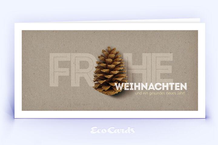 Weihnachtskarte Nr. 1656 naturfarben mit einem Tannenzapfen