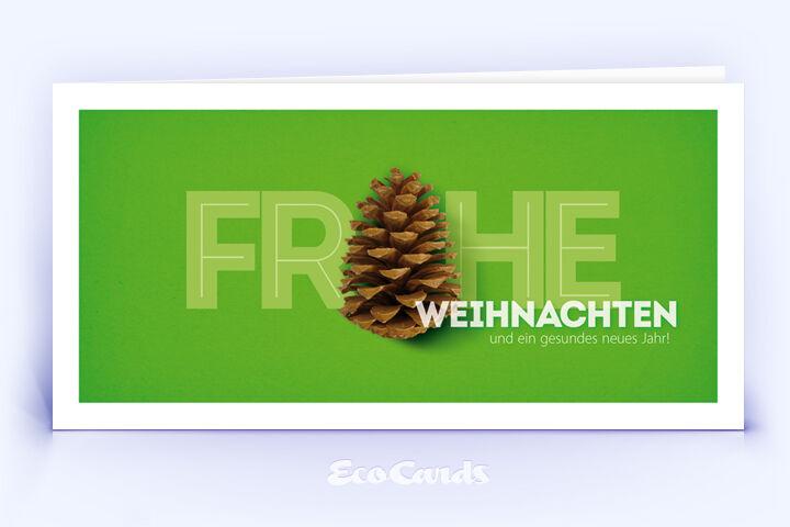 Weihnachtskarte Nr. 1658 gruen mit Tannenzapfen