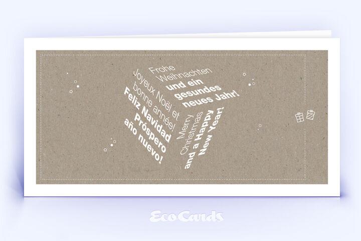 Weihnachtskarte Nr. 1666 naturfarben mit Word Cloud