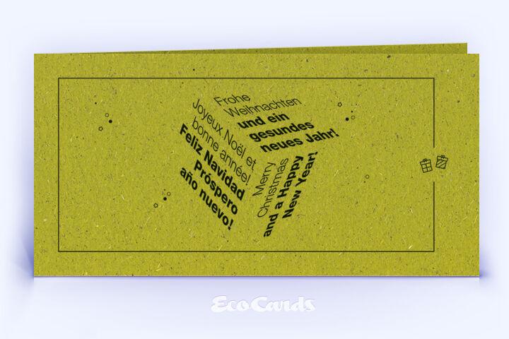 Weihnachtskarte Nr. 1670 gruen mit Word Cloud