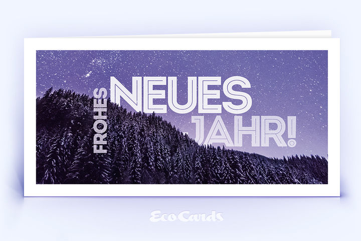 Neujahrskarte Nr. 1704 violett mit einer Fotoimpression
